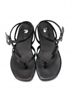Sandales plates off-white en cuir noir