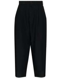 Black cropped pleated pants CDG H+