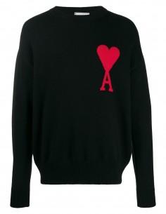 Pull noir AMI PARIS gros coeur rouge