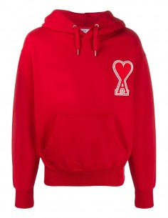 Red hoodie in cotton AMI PARIS big red heart