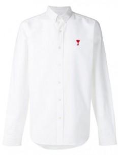 Chemise unie blanche col boutonné Ami Paris