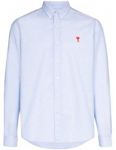 Chemise unie bleue col boutonné Ami Paris