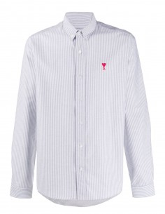 Chemise rayée bleue et blanche col boutonné Ami Paris