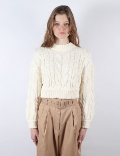 ZIMMERMANN white twisted crop sweater