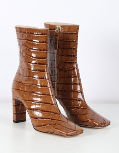 WANDLER brown croco print heeled boots
