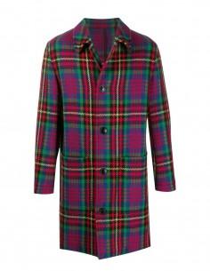 Manteau droit à carreaux en laine vierge AMI PARIS