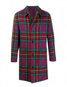 Straight check coat in virgin wool AMI PARIS