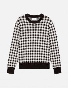 Gingham round neck sweater AMI PARIS