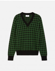 AMI PARIS gingham v-neck sweater in wool and cotton