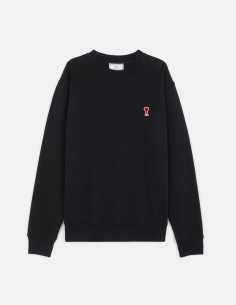 AMI PARIS black sweat in cotton with small patch sewn