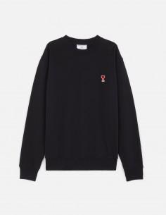 Sweat noir avec petit logo cousu AMI PARIS en coton