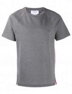Tee-shirt tricolor stripe side grey THOM BROWNE