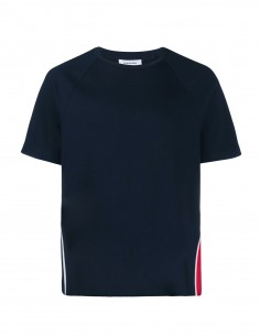 Tee-shirt S-s tricolor stripe side navy THOM BROWNE