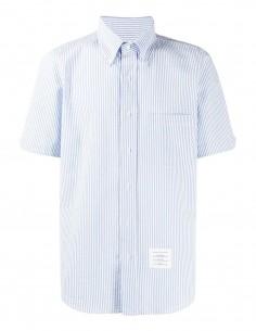 """Blue striped """"seersucker"""" shirt in cotton THOM BROWNE"""