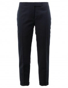 THOM BROWNE navy pleated trousers with turn-up in wool