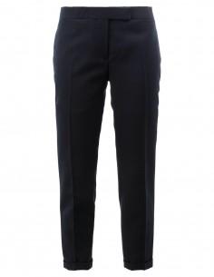 Pantalon en laine à plis et revers américains THOM BROWNE pour femme