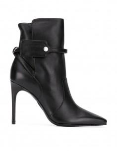 Boots pointues à talon OFF-WHITE en cuir noir