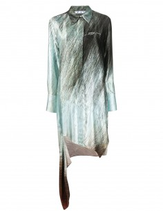 OFF-WHITE asymmetrical shirt-dress with pastel green and black graphic print