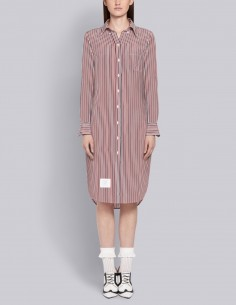 THOM BROWNE tricolor striped shirt dress in silk