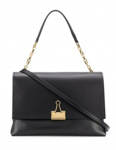 "OFF-WHITE ""SOFT BINDER CLIP"" black shoulder bag in leather"