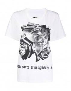 T-shirt court imprimé fleurs MM6