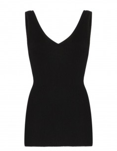 TOTEME 'Nice' black V-neck and back ribbed top in soft knit