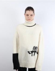 Pull à col roulé bicolore en laine alpaga OFF-WHITE
