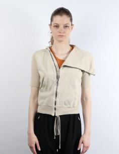 Asymmetrical Ecru Zip Sweatshirt Rick Owens DRKSHDW