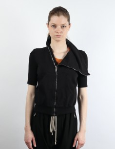 RICK OWENS 'Tecualt' asymmetrical zip short sleeves black sweatshirt in cotton