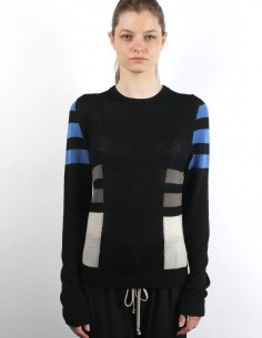 RICK OWENS black sweater with multicolored geometric patterns in wool