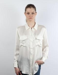 SILK LAUNDRY ecru boyfriend silk shirt