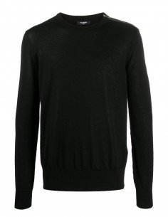 Black round-neck sweater in BALMAIN virgin wool