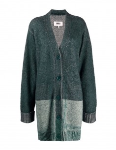 Two-tone green cotton-blend MM6 cardigan