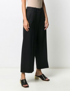 Black wide pleated pants MM6