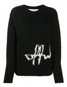 Black sweater white logo knitted OFF-WHITE*