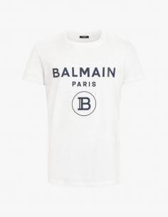 T-shirt blanc BALMAIN à logo noir