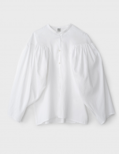 TOTEME white Mao collar puff sleeves blouse