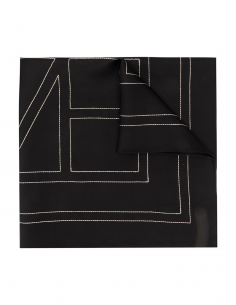 TOTEME black silk with creme monogramme scarf