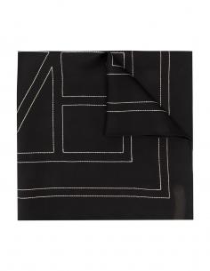 TOTEME black silk with creme monogramme scarf