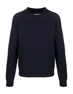 MAISON MARGIELA blue wool pullover with round collar and ribbed knit