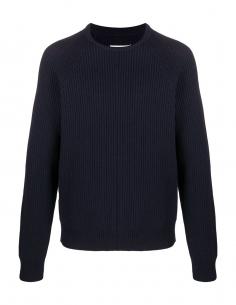 Pull en laine bleu MAISON MARGIELA avec col rond en maille
