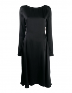 MAISON MARGIELA black mid-length skating dress with long sleeves