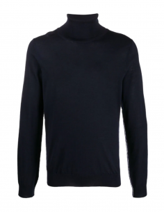 MAISON MARGIELA blue turtleneck pullover with contrasting white topstitching