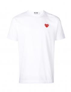 CDG COMME DES GARCONS PLAY - T-shirt blanc à patch logo coeur rouge