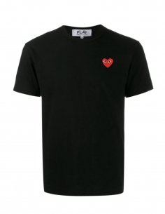 CDG COMME DES GARCONS PLAY - T-shirt noir à patch logo coeur rouge