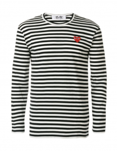 CDG PLAY - black sailor long sleeves tee with red heart logo