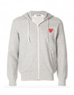 CDG PLAY - Sweat gris zippé à capuche avec patch coeur rouge