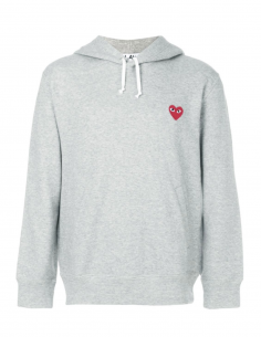 CDG PLAY - Grey hoody with red heart patch