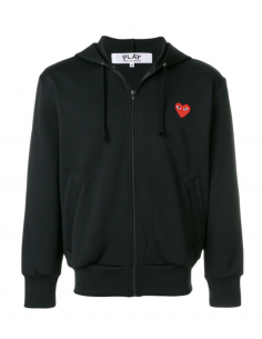 CDG PLAY - black zipped hoody with red heart patch