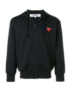 CDG PLAY - Sweat noir zippé à capuche avec patch coeur rouge